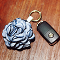 Fashion Rose Flower Keychain Car Key Chain Key Ring Women Bag Plush Accessories Pendant Charms