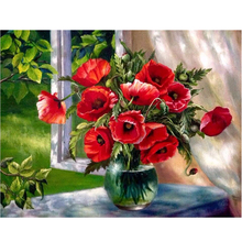3D Diamond Painting Cross Stitch Red Floral Vase Crystal Needlework Round Embroidery Flower Full Wall Decor