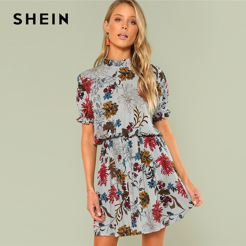 01dd4579faf8 SHEIN Multicolor Vacation Boho Bohemian Beach Ruffle Cuff Mock Neck Floral  Stand Collar Dress Summer Women