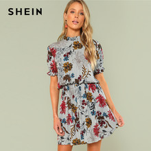 6efb0ad07e SHEIN Multicolor Vacation Boho Bohemian Beach Ruffle Cuff Mock Neck Floral  Stand Collar Dress Summer Women Weekend Casual Dress