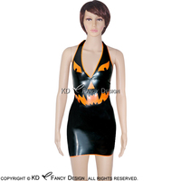Halloween Black With Orange Trims Sexy Halter Latex Dress With Deep V Rubber Dress Playsuit Bodycon LYQ 0022