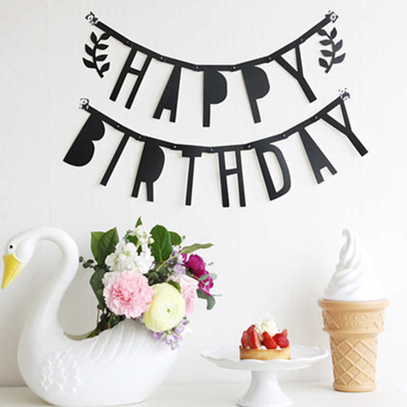 Happy Birthday Black Flags Floral Bunting Banners Letter Garlands Baby Kids Creative Birthday Party Decorations Kids