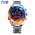 TVG Relógio Militar Homens de Luxo à prova d' água Mens Quartz Analógico digital LED relógio de pulso de aço inoxidável strap relogio masculino
