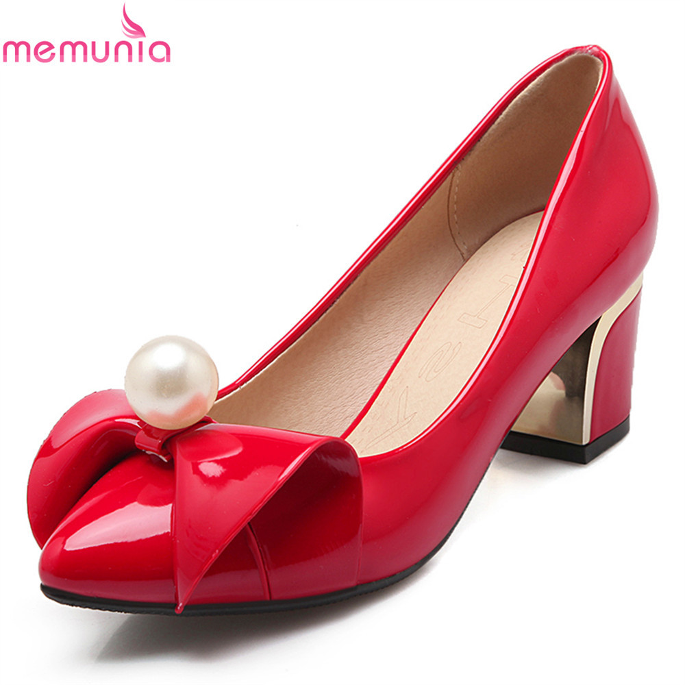 MEMUNIA spring autumn big size patent leather women pumps thick high heels pointed toe butterfly-knot black red party shoes memunia 2017 fashion flock spring autumn single shoes women flats shoes solid pointed toe college style big size 34 47