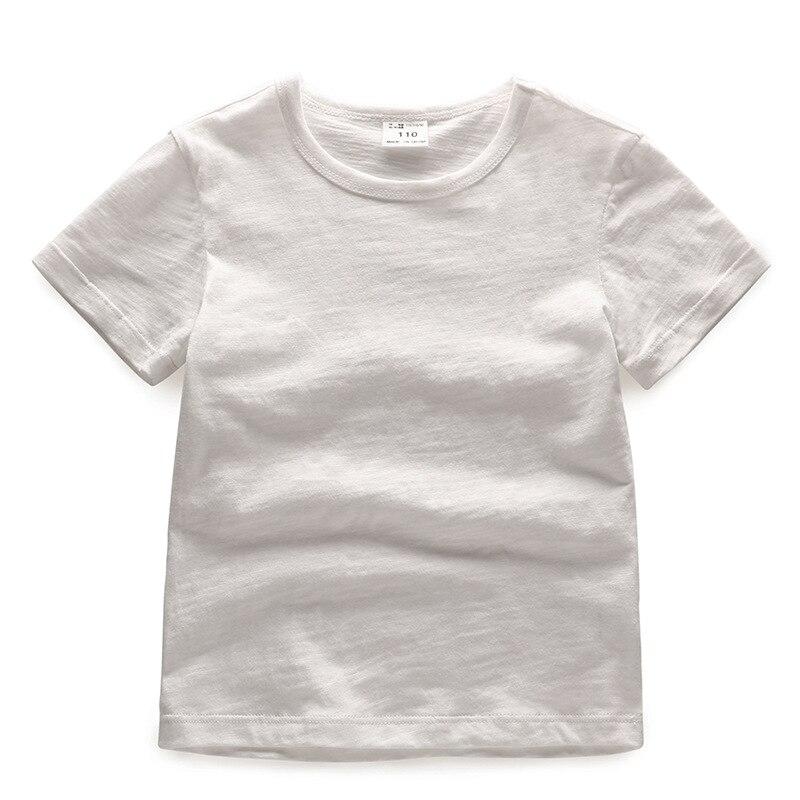 V-TREE; летние рубашки для мальчиков; хлопковые детские футболки; цветные топы для девочек; детская блузка с короткими рукавами; футболки для малышей; одежда для малышей - Цвет: solid white
