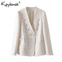 Винтажная стильная двубортная потертая твидовая куртка пальто для женщин 2020 модная женская верхняя одежда с длинным рукавом Повседневная ...