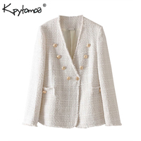 Vintage Stylish Double Breasted Frayed Tweed Jacket Coat Women 2019 Fashion Long Sleeve Ladies Outerwear Casual Casaco Femme