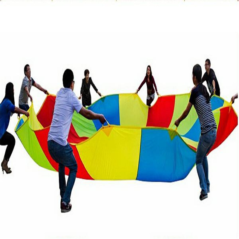 New 2m Child Outdoor Rainbow Umbrella Parachute Toy Kindergarten Parent-Child Umbrella Rally Amusement Park Playground ...