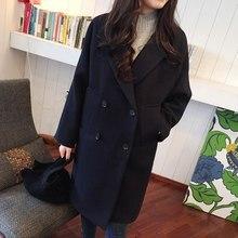 все цены на 2018 Winter Fashion Women Loose New Coat Long Sleeve Medium Long High Quality Wool Jacket Female Thicken Warm Woolen Coat онлайн