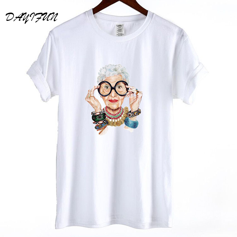 2019 Summer Tumblr Fashion Old Women Print T Shirt Women Cotton O-neck Short Sleeve Tops For Women Kawaii Tshirt T3262 Price $12.99