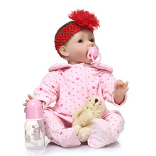 "NPK 55cm 22"" Silicone Doll Reborn With Pink Cotton Made Rompers And Red Flower Hair Band Popular Reborn Brinquedos For Children"