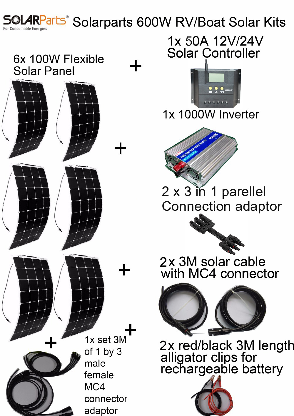 600W DIY Kits Photovoltaic System 6pcs 100W flexible solar panel 12V 30A solar controller 1000W inverter full cable universal