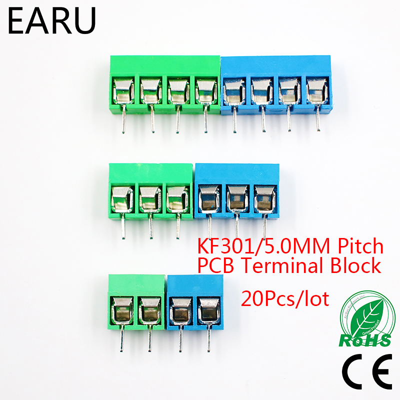 20Pcs/lot KF301-5.0-2P KF301-3P KF301-4P Pitch 5.0mm Straight Pin 2P 3P 4P Screw PCB Terminal Block Connector Blue Green ...