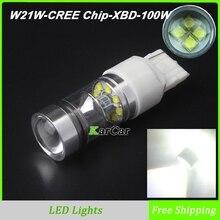 2x новое поступление W21W светодио дный Фары заднего хода 1000LM 100 Вт CREE чип XBD T20 лампы, 12 В 7440 задний хвост фонаря светодио дный Парковка лампы Белый