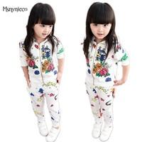 Baby Girls Clothes Sets 2017 Spring Autumn Toddler Girl Clothing Suit Kids Flower Print Pantskirt Girl