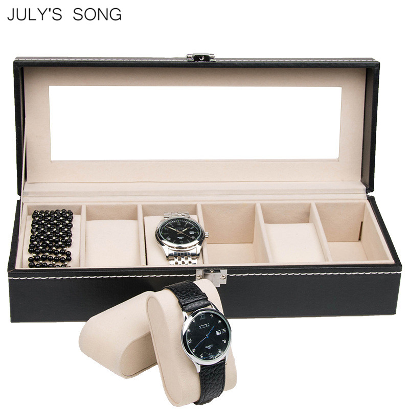 JULYS SONG 2/3/6Slots Watch Display Case PU leather Watch Box Wristwatch Organizer Storage for Bracelet Jewelry Holder Luxury