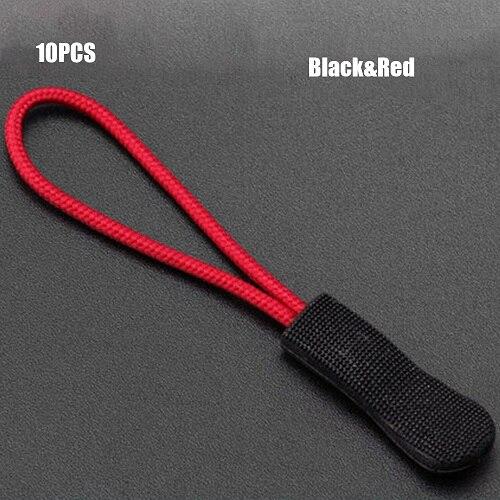 10 шт. фиксатор для застежки-молнии, фиксатор для веревочной бирки, сменный зажим, сломанная Пряжка для шитья одежды, дорожные сумки - Цвет: Black-Red