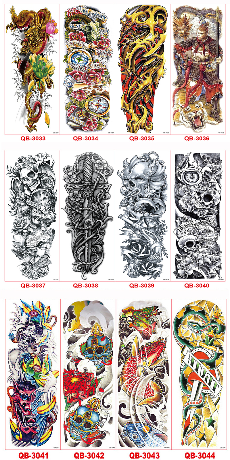 Pcs Waterproof Large Temporary Tattoos Stickers Fake Paste Leg Full Arm Tattoo Sticker Sleeve On The Body Art For Men Women 15
