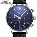 NEW Brand GUANQIN Watch Men 2017 Top Brand Luxury Famous Male Wristwatches Clock Leather Quartz Watch Man relogio kol saati