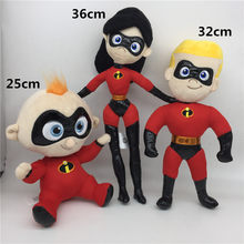 Movie Cartoon The Incredibles 2 Plush Toys Dolls Mr. Incredible Family Parr Doll Kids Boys Girls Christmas Cosplay Gift 3pcs/lot(China)