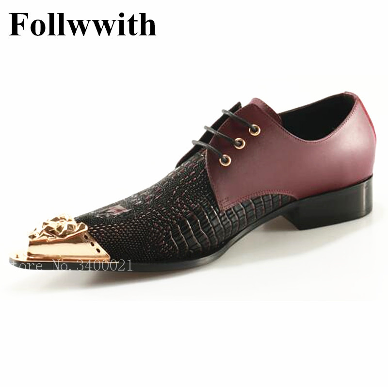 2018 Follwwith Brand Gold Metal Pointed Toe Handmade Men Shoes Top Qulaity Lace Up Wedding Party Loafers Men Casual Shoes 2015 qulaity mardrid 14 15 3 men