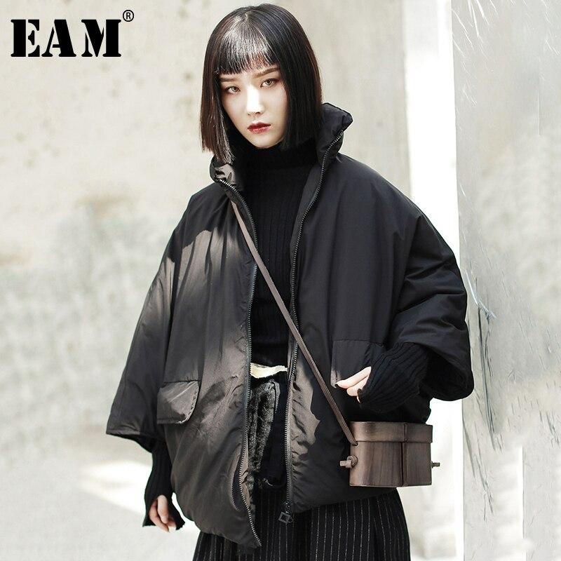 [EAM] 2019 Новинка весны Стенд воротник с длинным рукавом «летучая мышь» черный утолщение теплый пуховик для женщин парки мода прилив JK103