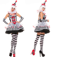 free PP 2017 New Woman's Halloween Costumes Circus Cosplay Disfraces Circus Woman Clown Costumes Actress