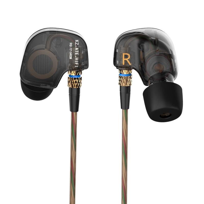 Original KZ ATE 3.5mm In Ear Earphone Sport Running HIFI Earphone Super Bass Noise Canceling Earbuds Copper Driver