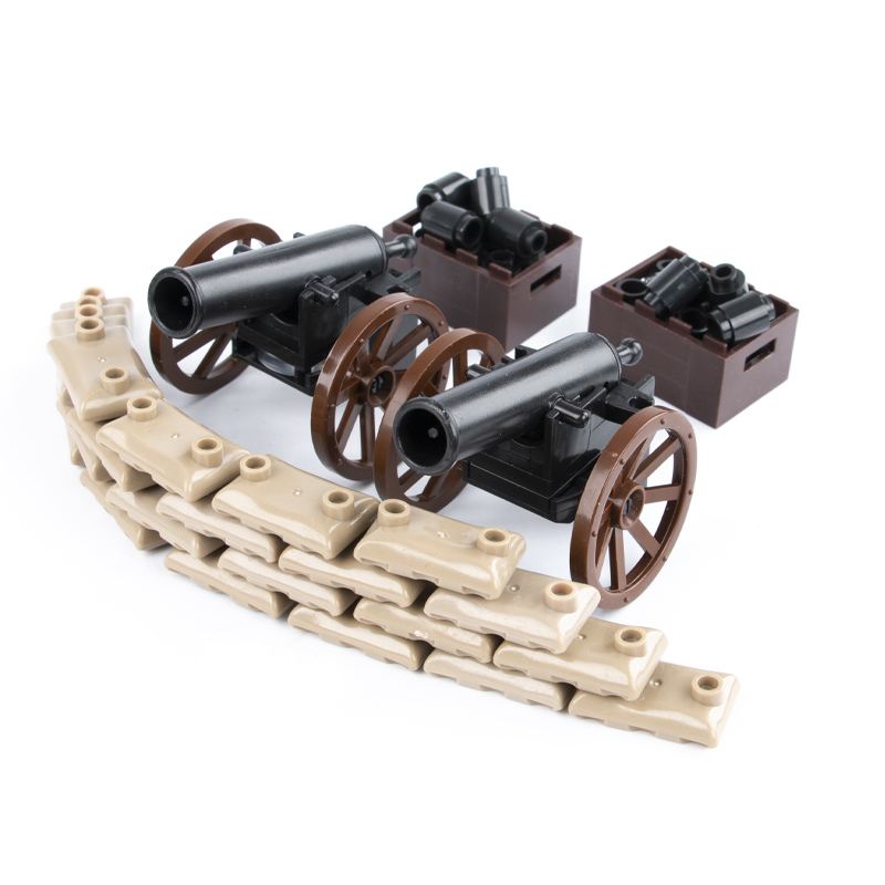 WWI Military Accessories Building Blocks Medieval Soldiers Figures Weapons Parts Blocks Pirate Boat Cannon Model Blocks Bricks