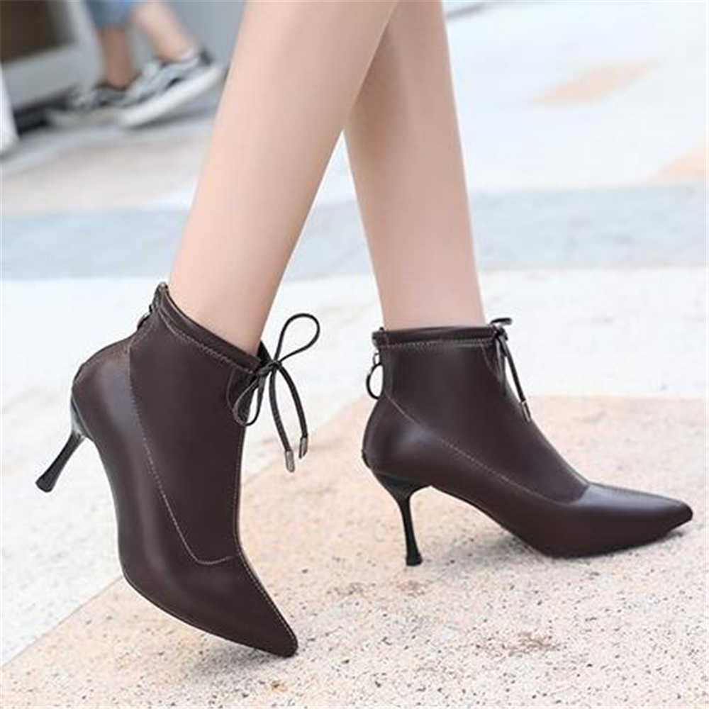 ยุโรปสไตล์ฤดูใบไม้ร่วงหญิง 2018 ใหม่ชี้รองเท้ามาร์ตินหญิงฤดูหนาวบางสั้นรองเท้า bare รองเท้าส้นสูงรองเท้า