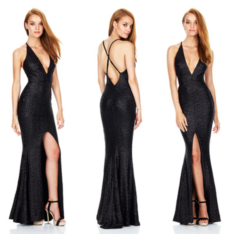 Sexy Long Women Dress Sparkle Deep V Neck Empire Waist Floor Length Shiny Sequin Dresses Banquet