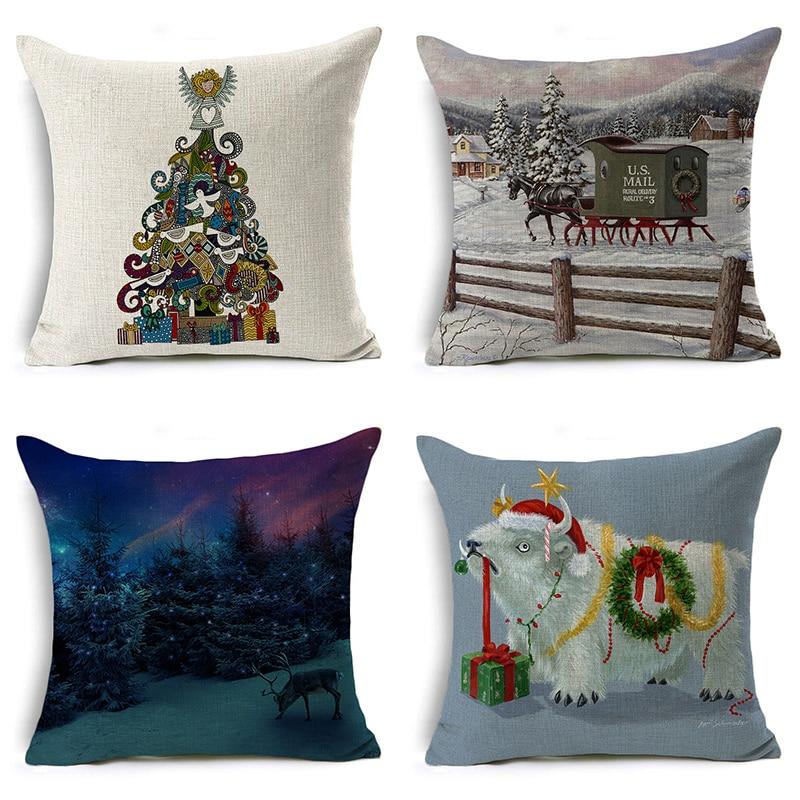Nordic Merry Christmas Tree Pillow Cover Santa Claus Letter Cushion Cover Decorative Throw Pillow Case Sofa Home Decor almofadas
