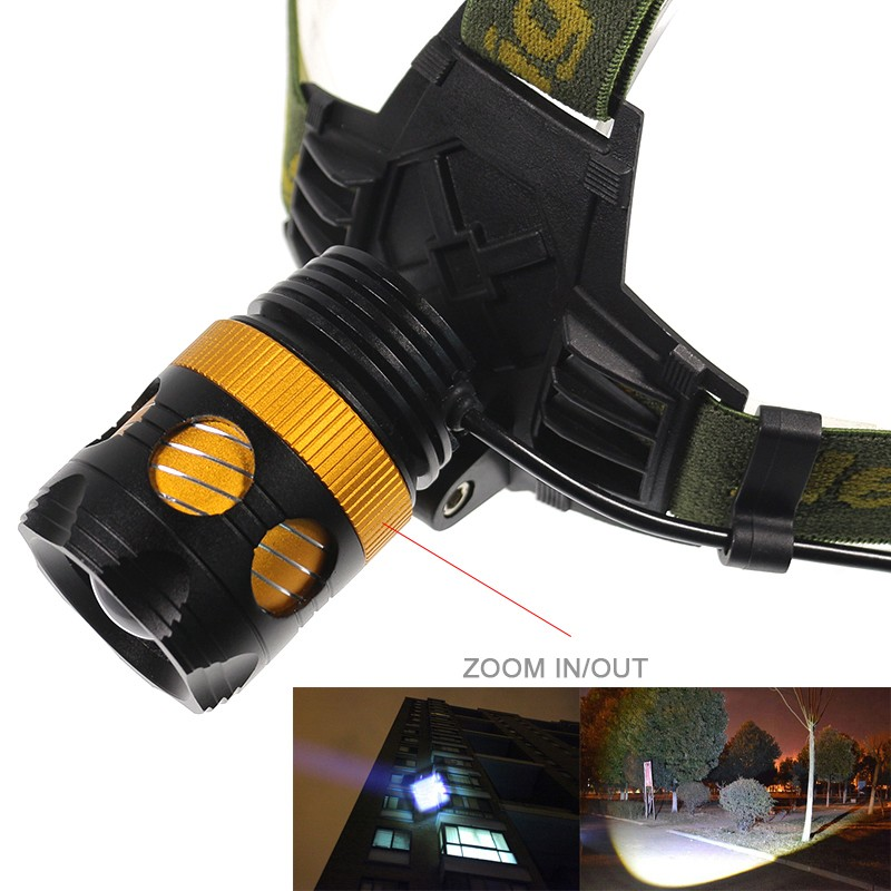 Cree T6 Headlamps Protable Lighting Accessory  Waterproof Zoomable Bike Light Headlight With Rechargeable 18650 Battery (6)