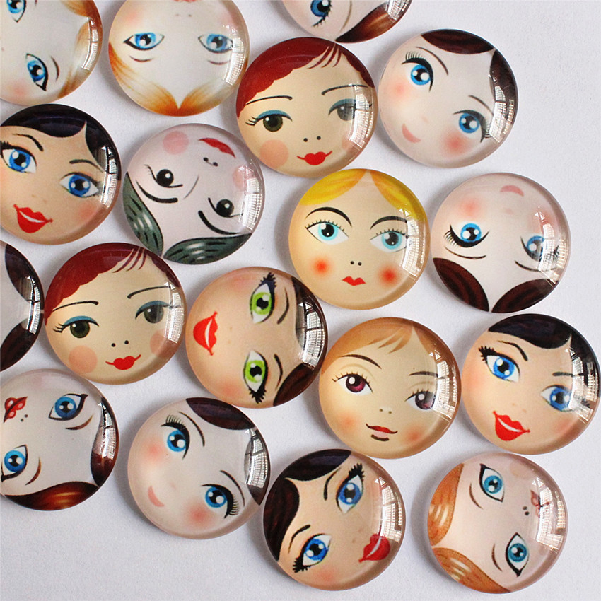 25mm Random Mixed Baby Face Head Matryoshka Round Glass Cabochon Flatback Photo Base Tray Blank DIY Making Accessories 10pcs