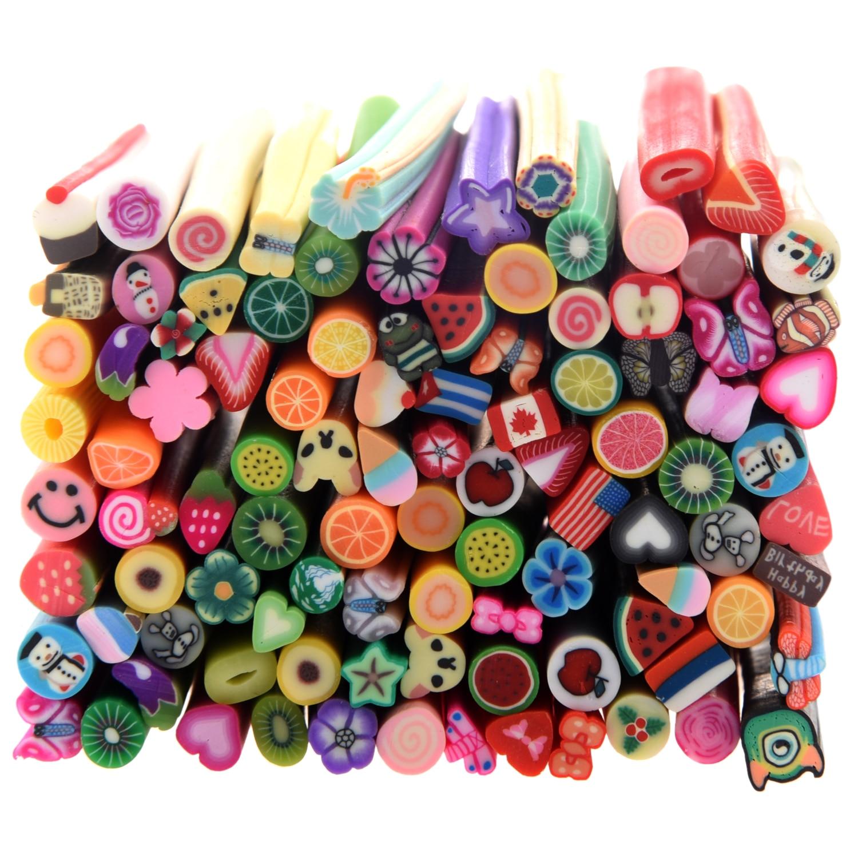 100 PC 3D Designs Nail Art Nailart Manicure Fimo Canes Sticks Rods Stickers Gel Tips 50 pcs sweet cartoon rabbit pattern fimo canes nail art decorations