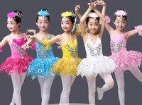 Bambini swan danza dress pizzo ragazze di ballo di balletto gonna bianca ballet tutu gymnastic body prassi esecutiva personalizzato per la fase 89
