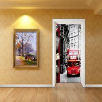 Creative Street Lamp Red Buses Door Wallpaper Wall Sticker Mural Waterproof Bedroom Living Room Home Decor Poster