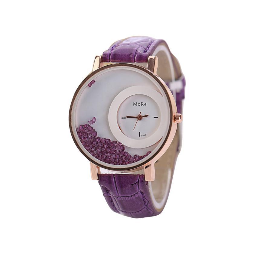 Femmes montres dames en cuir Quartz montres Quicksand strass Bracelet montre-Bracelet relogios feminino montre femme # D 5