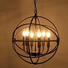 Retro Loft estilo jaula Circular de hierro Droplight LED colgante accesorios de iluminación comedor lámpara colgante Vintage iluminación Industrial
