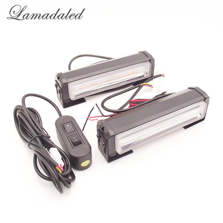 Lamadaled 2pcs COB strobe lights bar led warning lamp for trucks auto vehicle DRL daytime running light RED BLUE WHITE AMBER цена