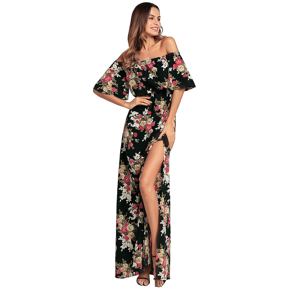 Ukraine New Arrival Print Half Above Knee, Mini Summer Dress The New And Summer 2018 Printing Large Swing Dress Sexy Strapless