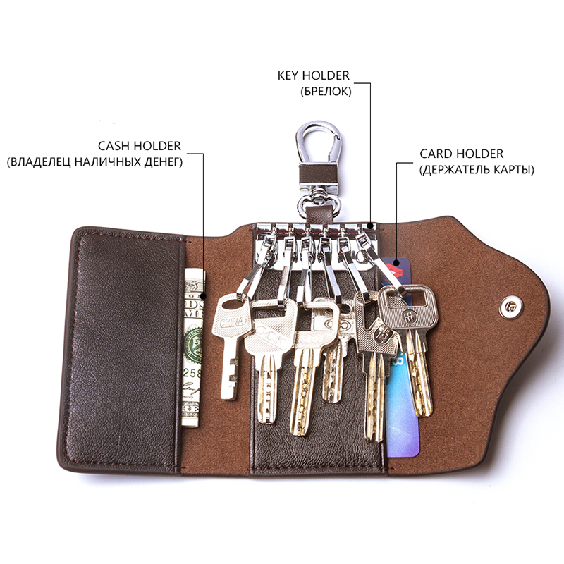 CONTACT'S Men's Genuine Leather Key Wallets Fashion Housekeeper Key Holders Male Keychain Casual Key Case For Men Key Rings 3