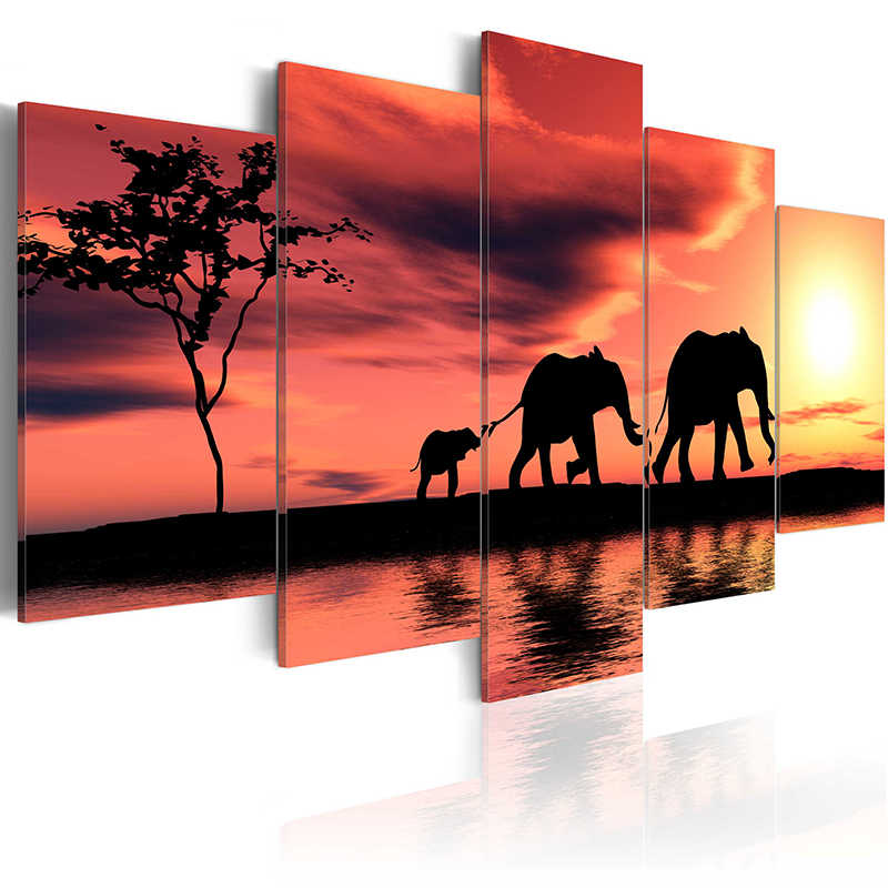 5 pieces/set Elephant series Picture Print Painting On Canvas Wall Art Home Decor Living Room Canvas Art PJMT-B (68)