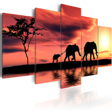 5 pieces/set Elephant series Picture Print Painting On Canvas Wall Art Home Decor Living Room PJMT-B (68)