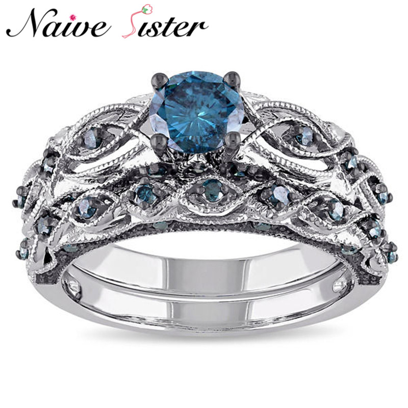 2pcs/set Fashion Blue Rhinestone Rings For Women AAA Cubic Zirconia Ring Wedding Band Bride Bridesmaid Jewelry Party Engagement
