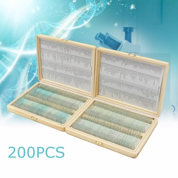 """Biology 200 PCS Prepared Biological Basic Science Microscope Glass Slides School and Laboratory English Label Teaching Samples 1"
