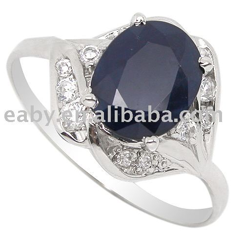 Huge 8*10mm genuine natural Sapphire silver 18k white gold plated Ring SR0201S