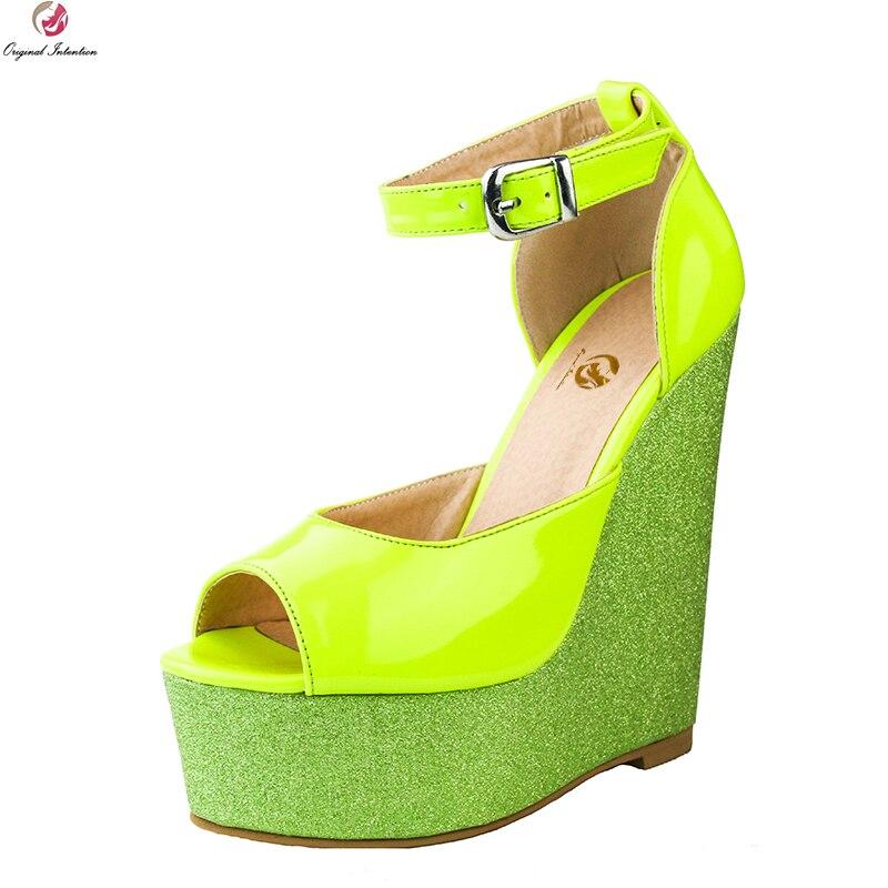 Original Intention Super Sexy Women Sandals Fashion Glitter Open Toe Wedges Gorgeous Yellow Shoes Woman Plus