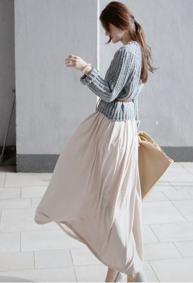 Winter Korean slim long-sleeved sweater chiffon dress female retro two-piece knit sweater+long sleeve dress women H1903 edition in the fall of new women s wear long sleeved sweater knit render unlined upper garment female hedge brief paragraph