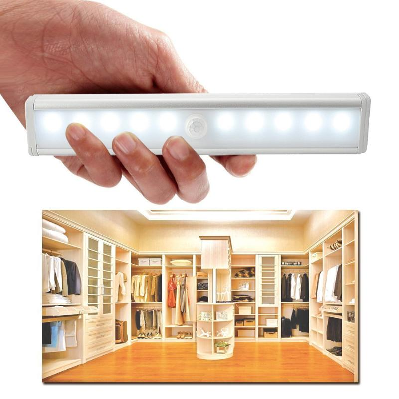 10 LED Battery Powered Cool/Warm White Color Wireless PIR Motion Sensor Lamp Super Bright Cabinet Drawer Night Light